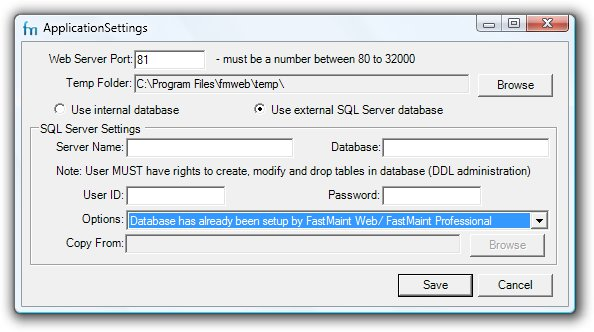 FastMaint Web Setup SQL Server