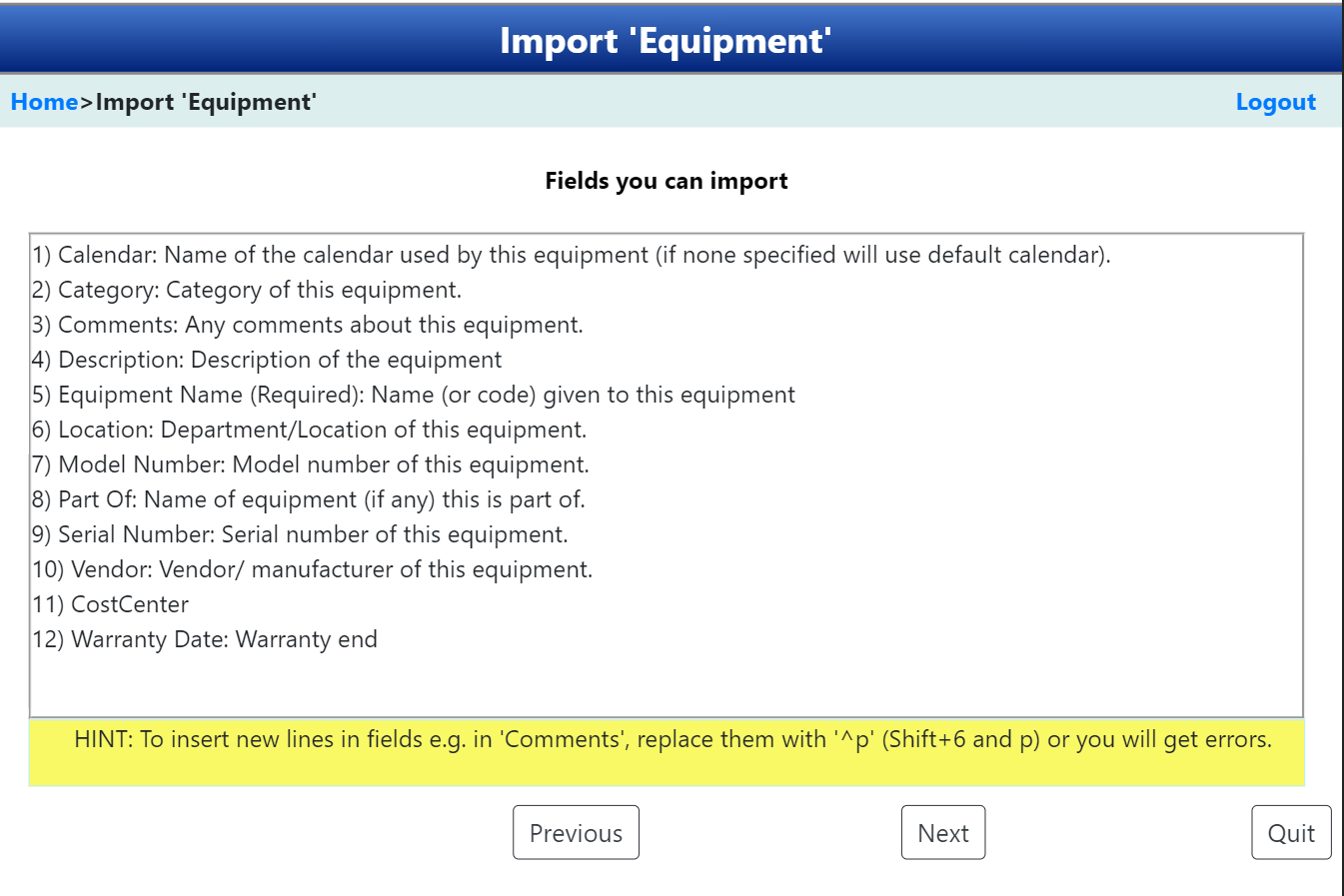 Import maintenance data