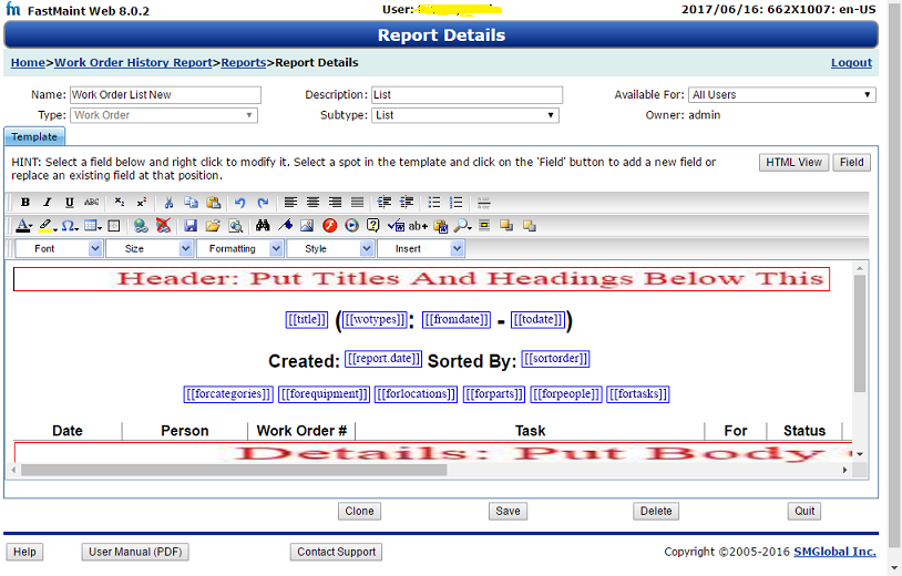 Work order list report template